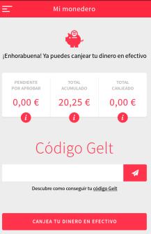 recogida dinero cajero de gelt pantalla de fin 20 euros