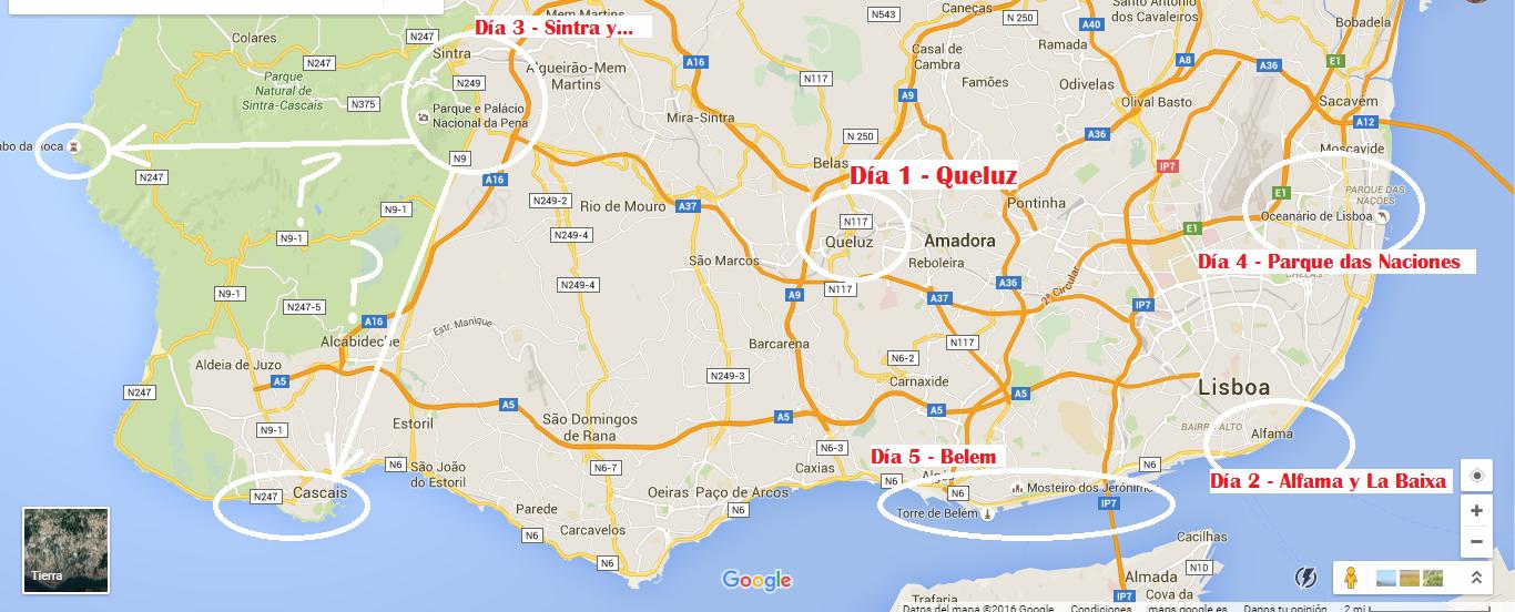 mapa planificacion 5 dias